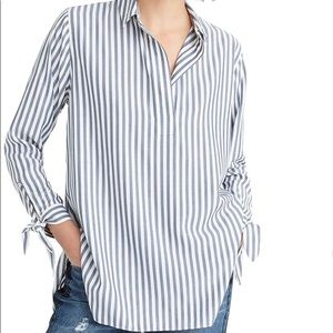 J crew Collared Tie-Sleeve Popover Stripe Shirt xl